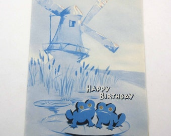 Vintage Birthday Greeting Card with Holland or Dutch Windmill and Frogs on Lily Pad