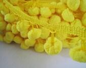 3 to 5 yards Extra Large Pom Pom Trim - Choose your own yards - Number 4 Yellow ( Pom pom size 2.5 cm or 1 inch)