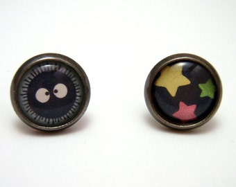 Soot Sprite Studs - Tiny sootball Susuwatari with rainbow stars post earrings SMALL - Kawaii Geek Chic Anime Spirited Away Inspired