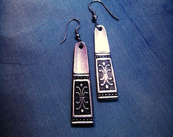 Stainless steel earrings made from cutlery