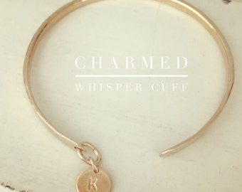 New! Charmed Whisper Cuffs / Personalized cuffs with initial charm//