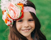 HARVEST FIELDS vintage inspired satin flower and lace headband with ostrich puff and pearls. flower girl bow. made to match giggle moon baby