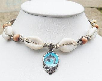 Grateful Dead Steal Your Dolphin Beach  Hemp Choker Necklace  SYF  handmade jewelry  hippie Deadhead
