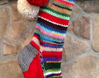 Old Fashioned Hand Knit Christmas Stocking Gray Red White Flower Rag Series Rainbow stripe