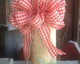Country Jute WRAPPED Aluminum Beer Bottle with jute trim, red and cream gingham bow  - Vase  - Bud Light