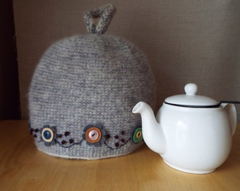 Fog & Smoke Lavender and Ecru Teapot Cozy, Cosy, Tea Cosie, Embroidered, Lined, Gift