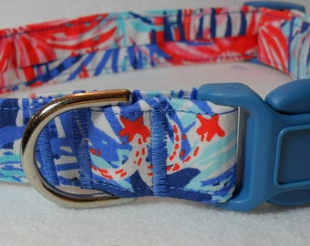 Handcrafted Lilly Pulitzer 2015 Multi Feeling Sparks Print Dog Collar- All Sizes- Free Shipping