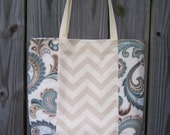 CLOSEOUT SALE --- Teal Blue Tan Cream Chevron tote market bag purse floral paisley