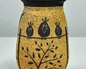 Handmade Ceramic Stoneware Jar with Bird Sgrafitto Design