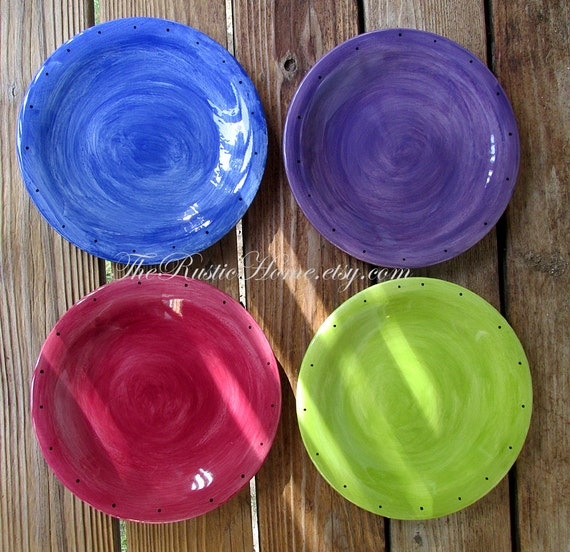 Set of four bright ceramic pottery dinner plates made to order tableware kiln fired food safe tableware rustic pottery