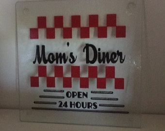 "Handmade Custom  8 x 8  Glass Cutting Board  "" MOMS DINER """