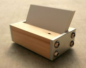 Business Card Holder for Desk Wood and Metal, Modern Office Decor, Choice of Dark Wood, Light Wood, Industrial