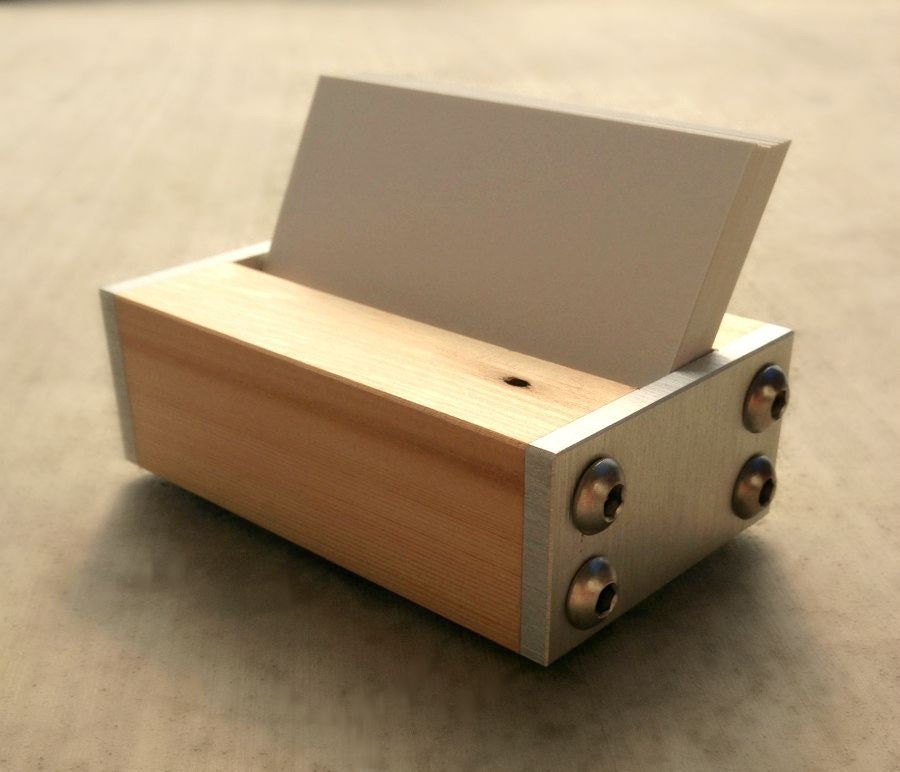 Business Card Holder for Desk Wood and Metal by