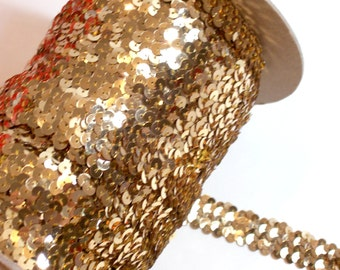 Metallic Gold Sequin Elastic Stretch Lace 1 inch wide x 3 yards, Gold Sequin Lace