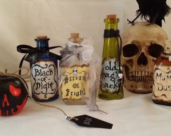 Evil queen snow white potion bottle set and poison apple wicked witch hag alchemy halloween