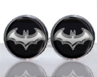 Round Glass Tile Cuff Links - Batman Symbol Modern CIR153