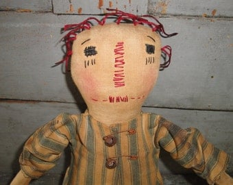 Primitive Cloth Doll | Raggedy Ann | Doll Dressed In Old Ticking | Hand Made Cloth Doll