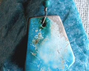 Blue Turquoise Doublet Free Form Wire Wrap Pendant (Free US Shipping)