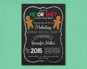 Gingerbread Chalkboard Holiday Gender Reveal Invitation / Gingerbread Gender Reveal Invite / Holiday Gender Reveal / PRINTABLE