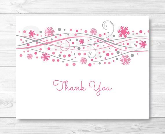 Pink snowflake thank you card snowflake baby shower winter baby il570xn maxwellsz