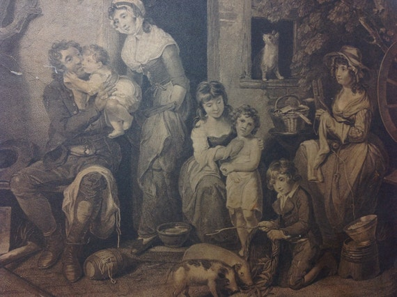 "1795 English Print ""Saturday Evening, The Husbands Return From Labour"" by W. Bigg"