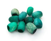 Silk cocoons, hand dyed, dark teal, green, malachite, blue grey, set of 10, textile supply, embroidery supply, teal and green silk fibres
