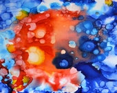 Fiery Love Original Alcohol Ink Painting on stretched canvas
