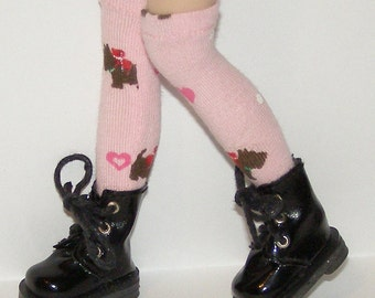 Tall Pink Socks With Scottie Dogs For Blythe...One Pair Per Listing...
