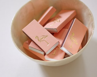 Gold Foil Matches - Flamingo - Coral and Gold - Home Decor - Hostess Gift - Party Favor - Set of 3