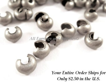50 Antique Silver Crimp Bead Cover Plated Brass 5mm Closed NF - 50 pc - F4146CC-AS50