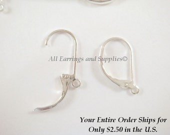 20 Silver Leverback Earwires Plated Brass 17x10mm - 20 pc - F4066EW-S20