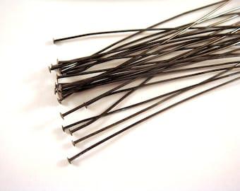 25 3in Headpins Gunmetal Black Plated Brass, 21 Gauge - 25 pc - F4001HP-B325