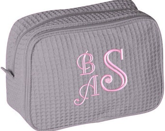 Personalized Waffle Cosmetic Case Bag Monogrammed Bridesmaid Gift Gray Pink Aqua Purple Black Navy White