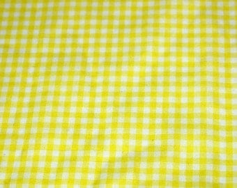 vintage 70s novelty fabric featuring great tiny yellow gingham design, 1 yard, 5 inches