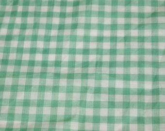 vintage 50s green and white cotton gingham fabric, 1 yard, 9 inches
