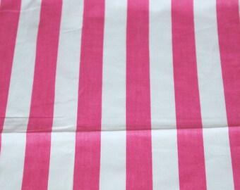 "vintage 80s pink and white stripe print, 67"" x 27"""