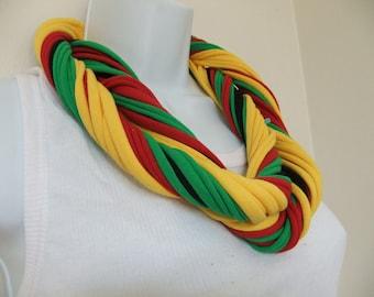 Infinity Scarf Multi Strand Multi Colored T Shirt Jersey Jamaican Colors Patriotic Rasta Colors Ethnic