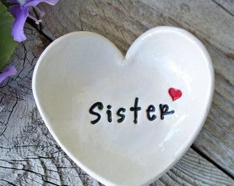 Heart Shaped Gift Dish w/Tiny Heart, Sister Gift, Personalized Dish, Ring Bowl, Ring Dish, Trinket Dish,Custom Text Bowl