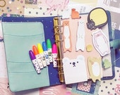 Planner Kit Bears, Cats Sticky Notes, Cute highlighters Pen. Filofax Planner, Stationary Diary, Organizer Scheduler.
