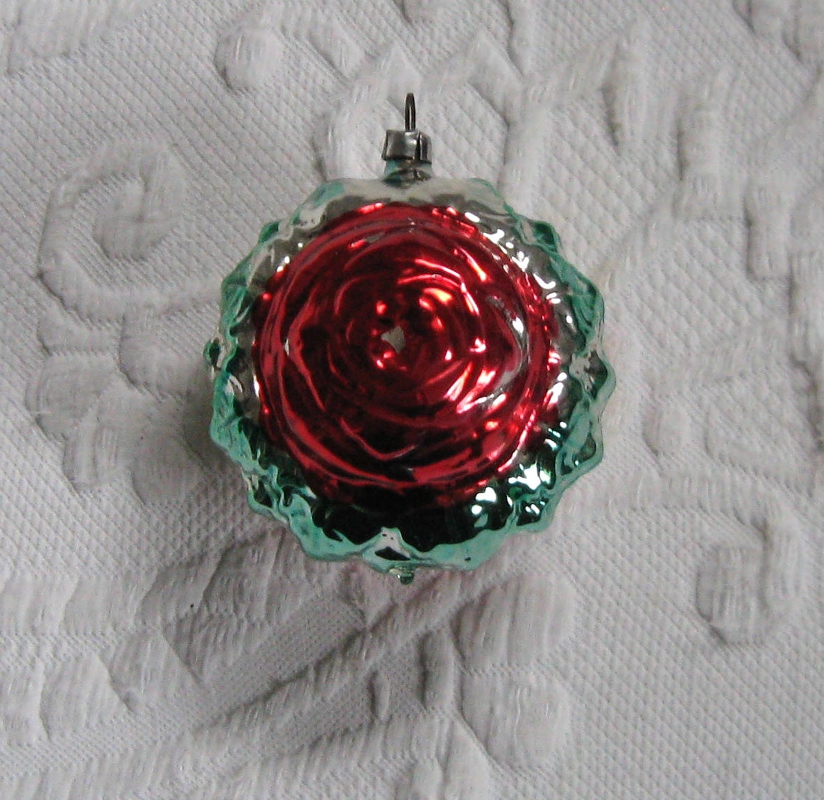 Christmas Rose Ornament . rose glass ornament . Hand Painted