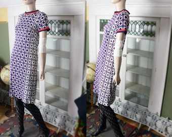 Vintage 60's scooter dress stewardess dress hipster red white blue new look mod geometric liberty 1960's nylon blend 4th of July INC US SHIP