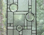 Stained Glass Panel, Prairie Style Abstract in Clear With Bevels