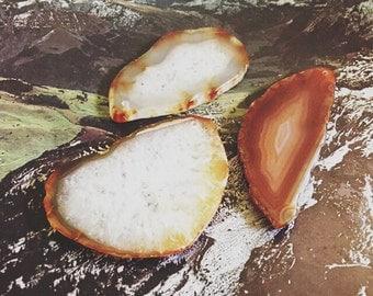 Brown amber Agate Slice Pendants - 3 pieces J