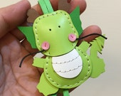 Small size - Puff the Dragon cowhide leather charm ( Apple Green )