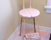 Vintage Kitchen Fold Out Stool Pink Metal Chippy Shabby Bench Chair