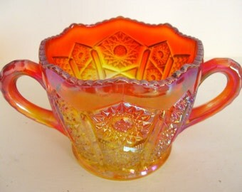 Marigold Carnival Glass Red Sunset Creamer