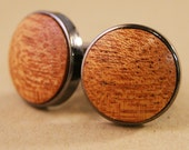 Cuff links - Mahogany Wood in Gunmetal Bezel cufflinks