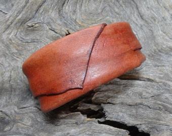 natural dyed hardened kangaroo leather adjustable armband MED #1