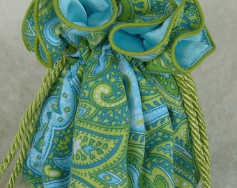 Paisley in aqua and lime Jewelry Pouch, Jewerly Travel Organizer Pouch