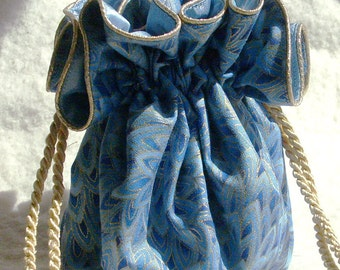 Bluebird Travel Jewelry Pouch, Bag travel organizer in shades of blue